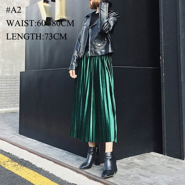 Saimishi Women Skirts High Quality Spring Autumn Summer Style Women's Pleated Length Skirt  Hot Fashion Thick Breathble