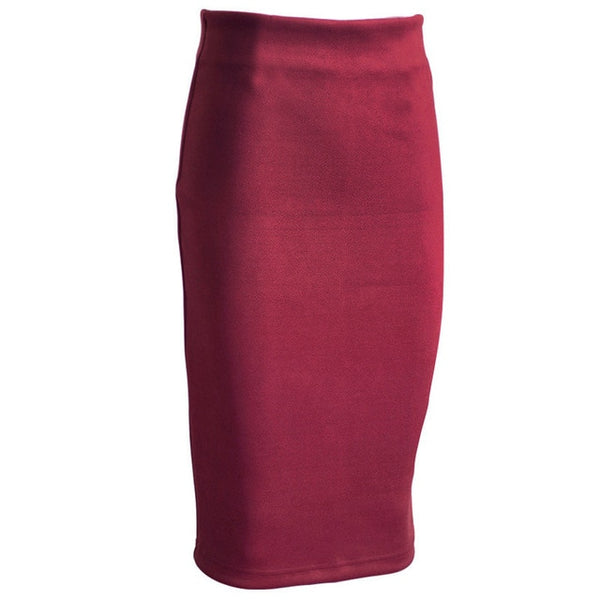 Sainishi Super Deals Women Suede Solid Color Pencil Skirt Female Spring Autumn Basic High Waist Bodycon Split Knee Length Skirts