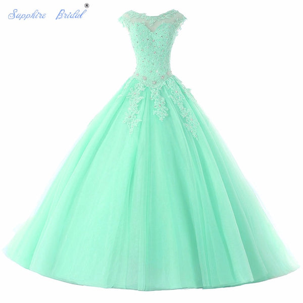Sapphire Bridal Long Party Gowns Vestido De 15 Anos De Cap Sleeve lace Open Back Lavender Turquoise Beading Quinceanera Dress