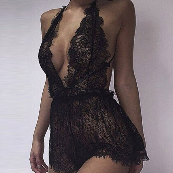 Sexy Bodysuit Rompers Womens Lace Crochet Playsuits Deep V Neck Back Hollow Out Transparent Black Jumpsuit Plus Size