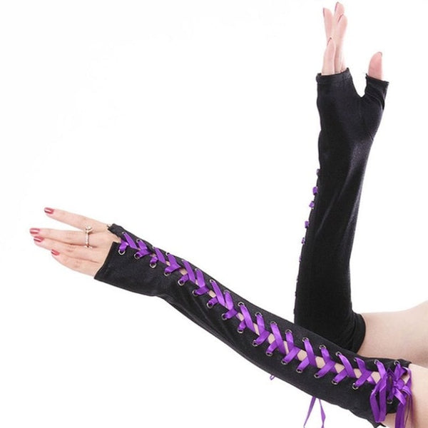 Sexy Elbow Length Fingerless Long Gloves String Ribbon Criss Cross Lace Up Disco Dance Gothic Style Cosplay Mittens Arm Warmer