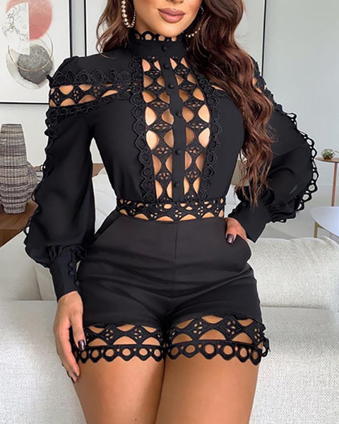 Sexy Hollow Out Playsuits for Women Summer Long Sleeve Skinny Nightclub Overall Fashion Woman Clothing