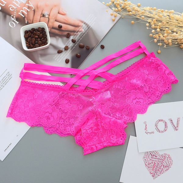 Sexy Panties Women Lace Low-Rise Solid Sexy Briefs Female Underwear Cross Strap Temptation Lingerie Ladies G String Thong