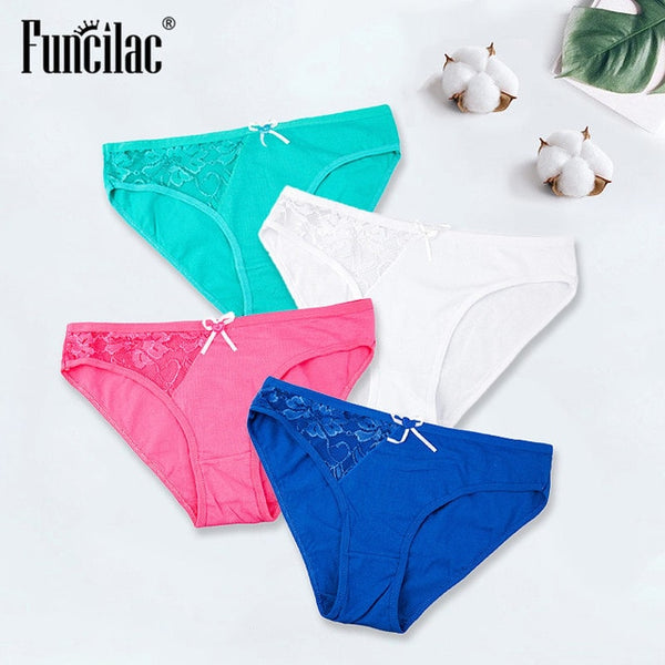Sexy Panties for Women Lace Briefs Transparent Underwear Ladies Cotton Lingerie Hollow-out Female Intimates 4 Pcs/lot FUNCILAC