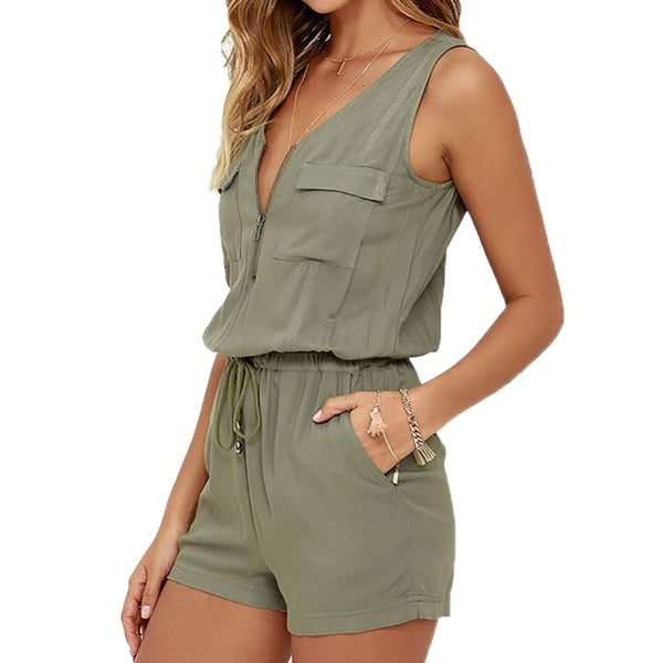 Sexy Sleeveless Bodysuit Women Jumpsuit Shorts Romper Summer V-neck Zipper Pockets Playsuit Fashion Beach Overalls