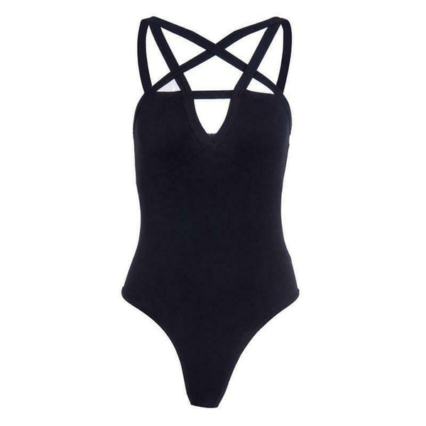 Sexy Womens Bandage Hip Hop Star Cross Gothic Hollow Out Hole Stretch Bodysuit