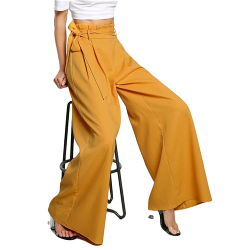 Sheinside High Waist Belted Zipper Palazzo Pants Ginger Frill Waist Ruffle Wide Leg Pants Women Elegant OL Style Trousers