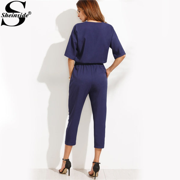 Sheinside Solid Surplice Front Self Tie Jumpsuits for Women Workwear Elegant Ladies Half Sleeve Twin Pockets Jumpsuit