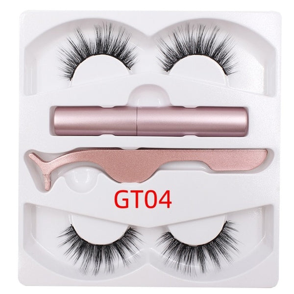 Shozy Magnetic Liquid Eyeliner & Magnetic False Eyelashes & Tweezer Set Waterproof Long Lasting Eyeliner  2 pairs lashes