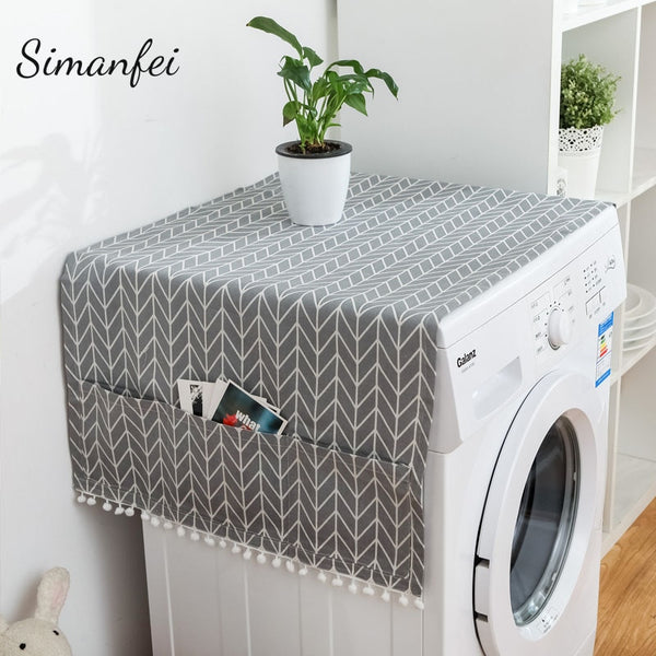 Simanfei Roller Washing machine Cover New Rural style Dust proof Covers Multi-function Refrigerator Dust Cover Storage Bags