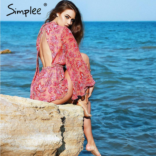 Simplee Backless lace up floral women jumpsuit romper - female Print bodysuit sexy summer overalls playsuit catsuit leotard