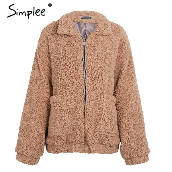 Simplee Faux fur lambswool oversized jacket coat Winter black warm hairly jacket Women autumn ladies outerwear female overcoat