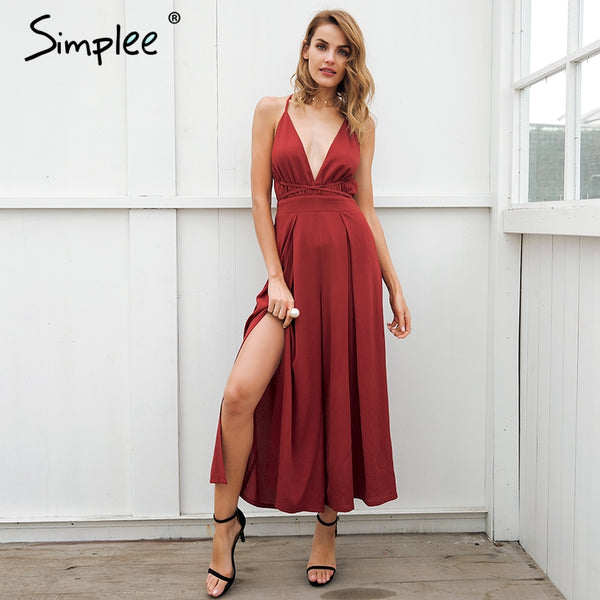 Sexy v neck backless print jumpsuit romper women Lace up halter high waist short overalls Split wide leg summer jumpsuit