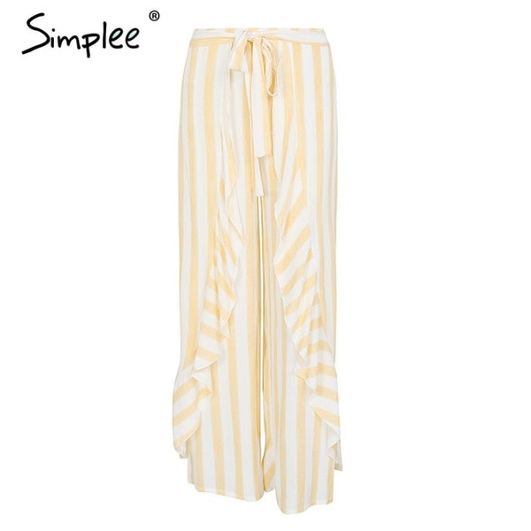 Simplee Stripe split wide leg pants women bottom Sash ruffle high waist trousers Summer beach casual pants female