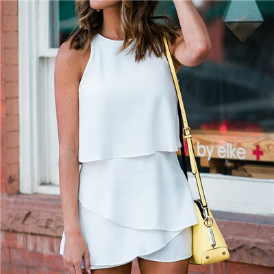 Sleeveless layered short jumpsuit for women - Summer fashion solid playsuits Causal rompers women jumpsuit Back slit playsuit