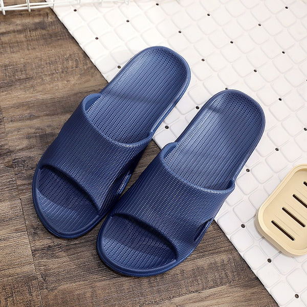 Slippers Sandals Summer Unisex Striped Solid Color Shoes Men Indoor Non-slip Soft Comfortable Rubber Flat Heels Slide For Men