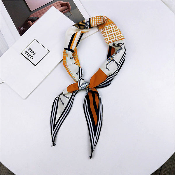 Small Triangle Satin Scarf Head Neck Scarves Foulard Femme Bandana Elegant Women Hair Tie Ribbon Wrap Handkerchief Sjaal Schal