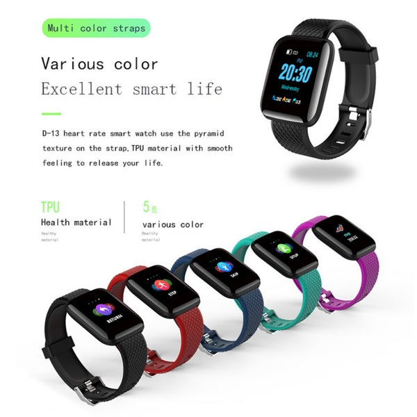 Smart Watch for Bluetooth USB Rechargeable Heart Oxygen Pressure Sleep Monitor Passometer Alarm Clock Wristwatch Wearable Device