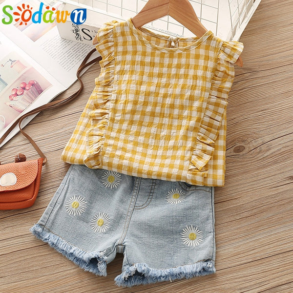 Sodawn Fashion Girls Clothing Set  Summer Baby Girls Clothes White Jacket Flower Decoration+Denim Shorts Children Clothing