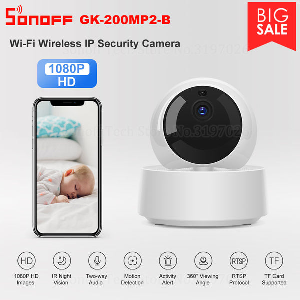 Sonoff 1080P HD IP Security Camera WiFi Wireless APP Controled GK-200MP2-B Motion Detective 360° Viewing Activity Alert Camera