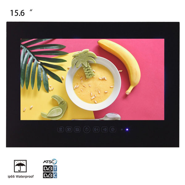 Souria 15.6 inch Bathroom LED IP66 Waterproof TV Hotel Decor Indoor Display USB DTV System