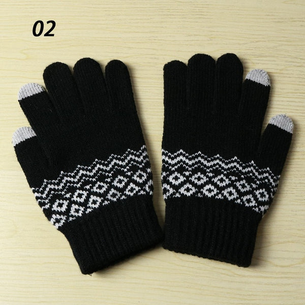 Sparsil Winter New Magic Touch Screen Knitted Gloves Thicken Full Fingers Gloves Warm Glove Stretch Men Women Knit Mittens