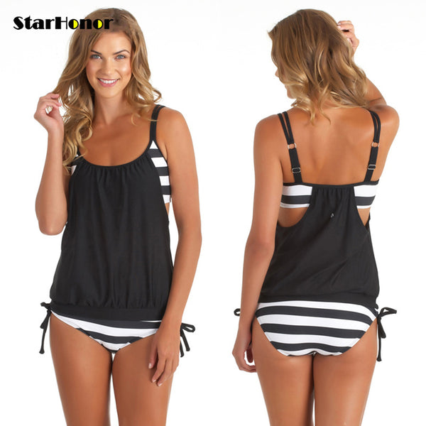 d45d945ddafac StarHonor Woman Striped Beach Swimsuit Bandage Patchwork One-piece Bikinis  Set Push Up Strappy Bathing