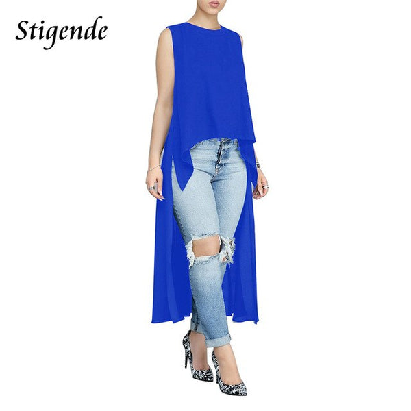 Stigende PLUS SIZE Women Sleeveless Long Shirt Solid Color Casual Tank Ladies High Low Top Side Slit Irregular Fishtail Shirts