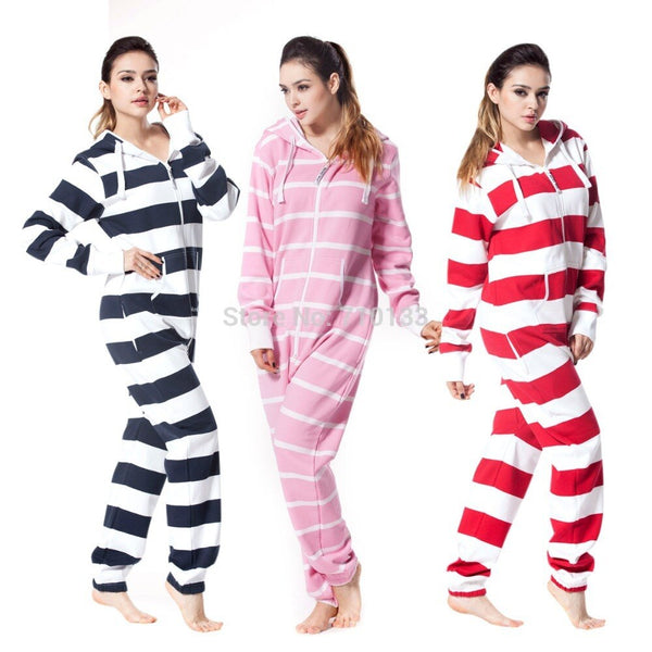 Striped  one piece jumpsuit all-in-one onesies onezie brushed fleece cotton  jump in cosy tracksuit unique hoody