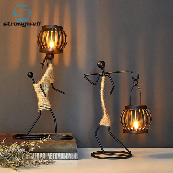 Strongwell Nordic Metal Candlestick Abstract Character Sculpture Candle Holder Decor Handmade Figurines Home Decoration Art Gift