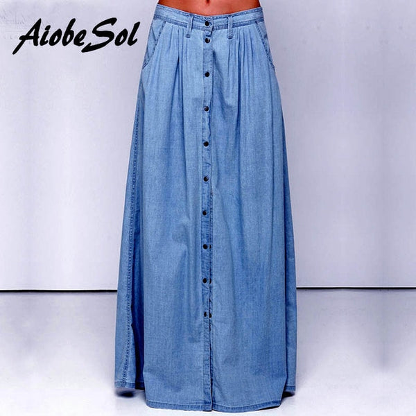 Summer Women Long Denim Skirt Femme Casual Loose High Waisted Single Breasted Maxi Jean Skirt Saias Feminina 3XL