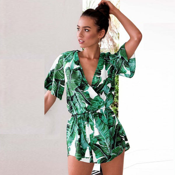 Summer Bodysuit Tops Print Steetwear Combinaison Femme Top Jumpsuit Playsuit Body Feminino Boho Clothes Overall Women Romper