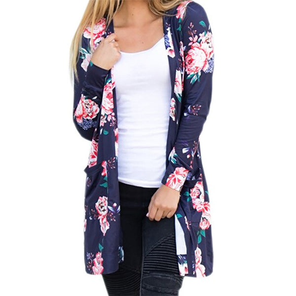 Summer Coat Woman Kimono Jacket Casual Floral Cardigans Jackets Long Sleeve Loose Coat Tops Tee Tunic Mujer Femme
