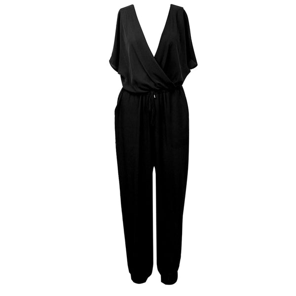 Summer Jumpsuits - One Piece Pants Lapel Elegant Salopette Blue Long Trousers Women Jumpsuits