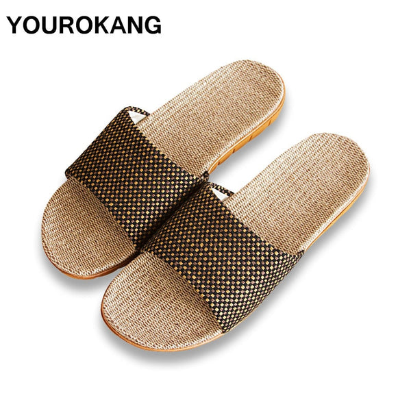 Summer Men Home Slippers Fashion Cool Male Linen Slipper Antiskid Lightweight Indoor Floor Couple Lovers Shoes New Arrival