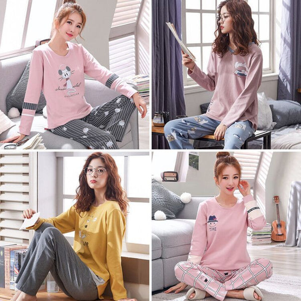 Summer Pjs Cotton Women Pajamas Sleepwear Sets Cartoon Lady Nightwear Women's Round Neck Casual Homewear Loungewear Suit M-XXL