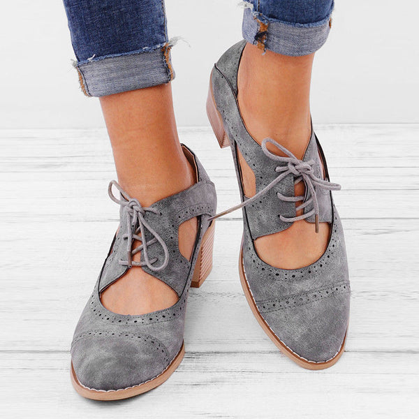 Summer Vintage London Brogue Shoes Women Lace Up Sandal Chunky High Heels Cut-Outs Female Casual Footwear Plus Size 35-43