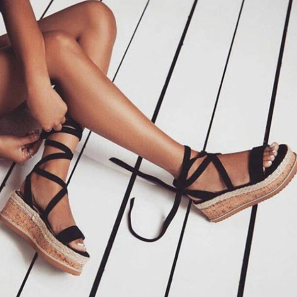 Summer Wedge Espadrilles Woman Sandals Open Toe Rome Shoes Gladiator Sandals Ladies Casual Lace Up Female Platform Sandals