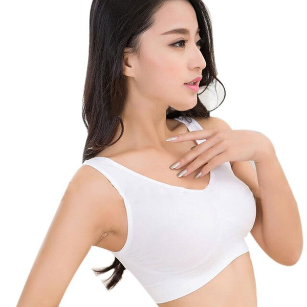 Summer Women Stretch Vest Fitness Bra No Rims Full Cup Solid Bras Tops JL