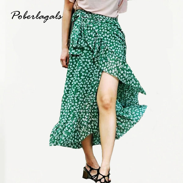 Summer style Casual irregularwomen beach boho maxi skirt - Green Floral Chiffon Printed Lotus Skirt Wrap lace-up skirts