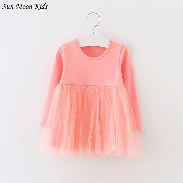 Sun Moon Kids Full Sleeve Baby Dress Cotton 1 Year Birthday Dress Casual Solid Baby Girl Clothes Draped Princes Ball Gown