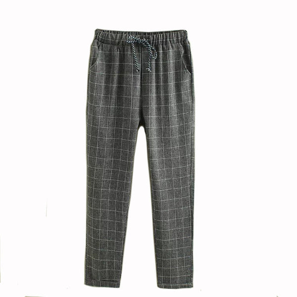TESSCARA Brand Summer New Fashion Women Casual Pants Clothes Print Plaid Female Harem Pants Loose Cheap Clothing  Plus Size