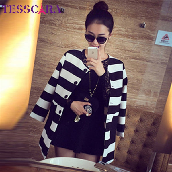 TESSCARA Spring & Autumn Women Basic Jackets Outerwear Fashion Striped Printed Jacket Slim Casual Coat Plus Size S-4XL