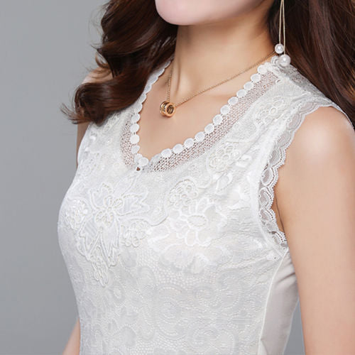 Tank top Women Fitness Elegant Flower Embroidery Lace Blouse New Fashion Summer Tube Top Sleeveless Shirt Clothing For Lady