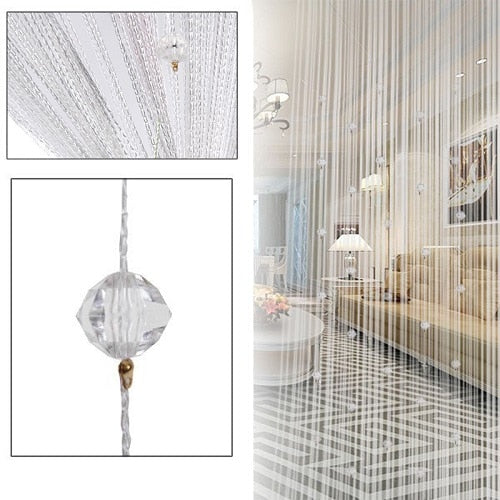 Tassel Curtain Crystal Beads Tassel Silk String Flash Curtain Window Door Divider Sheer Valance Door Windows Panel Home Curtains
