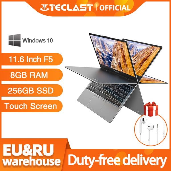 "Teclast F5 Laptop Intel 8GB RAM 256GB SSD Windows10 1920*1080 Quick Charge 360 Rotating Touch Screen 11.6"" Notebook PC"