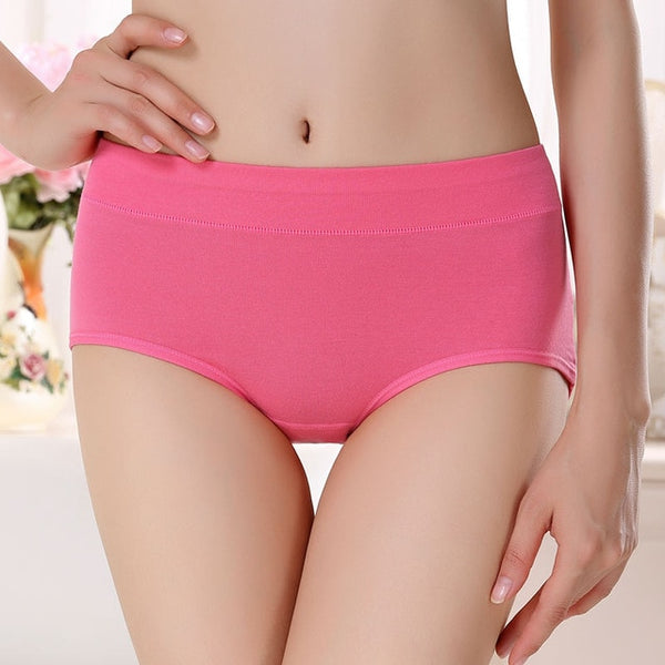 The new process pure cotton Women's Panties underwear Mid- waist sexy underwear Natural cotton briefs