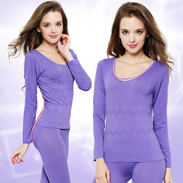Thermal Two Piece Set Women Seamless Antibacterial Winter Clothes Women Thermo Sets Body Shaped Warm Clothing Conjunto Femenino