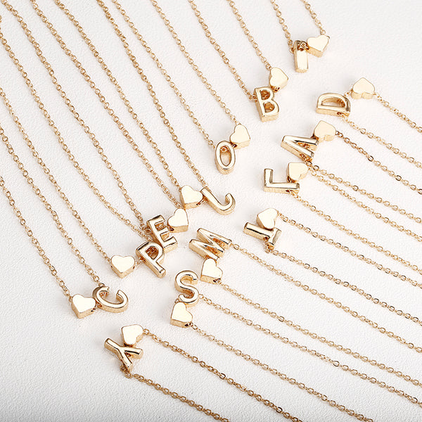 Tiny gold simple necklace letter A-Z gold color love heart necklace pendant for women girls Best birthday gift jewelry x6