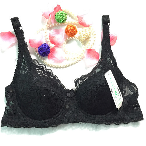 Top Women Underwear Sexy Push up bras 3/4 Cup Padded Lace Sheer Bra Cup B ONLY women bra